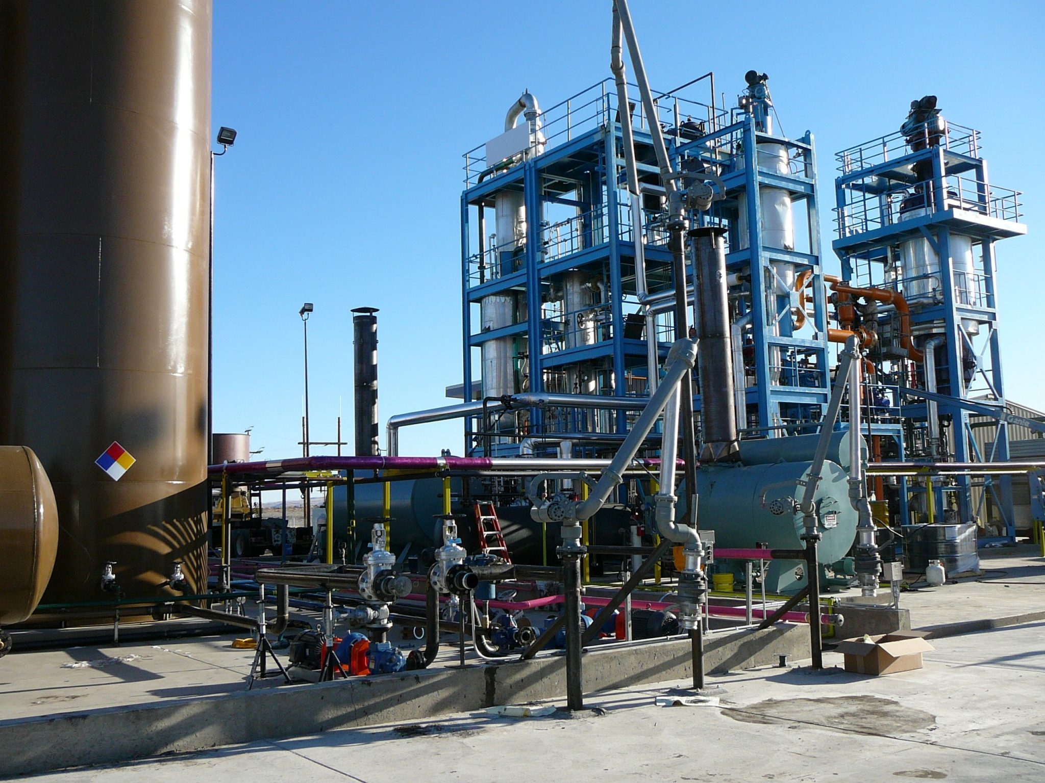 Waste oil recycling wiped film evaporator stacks 1