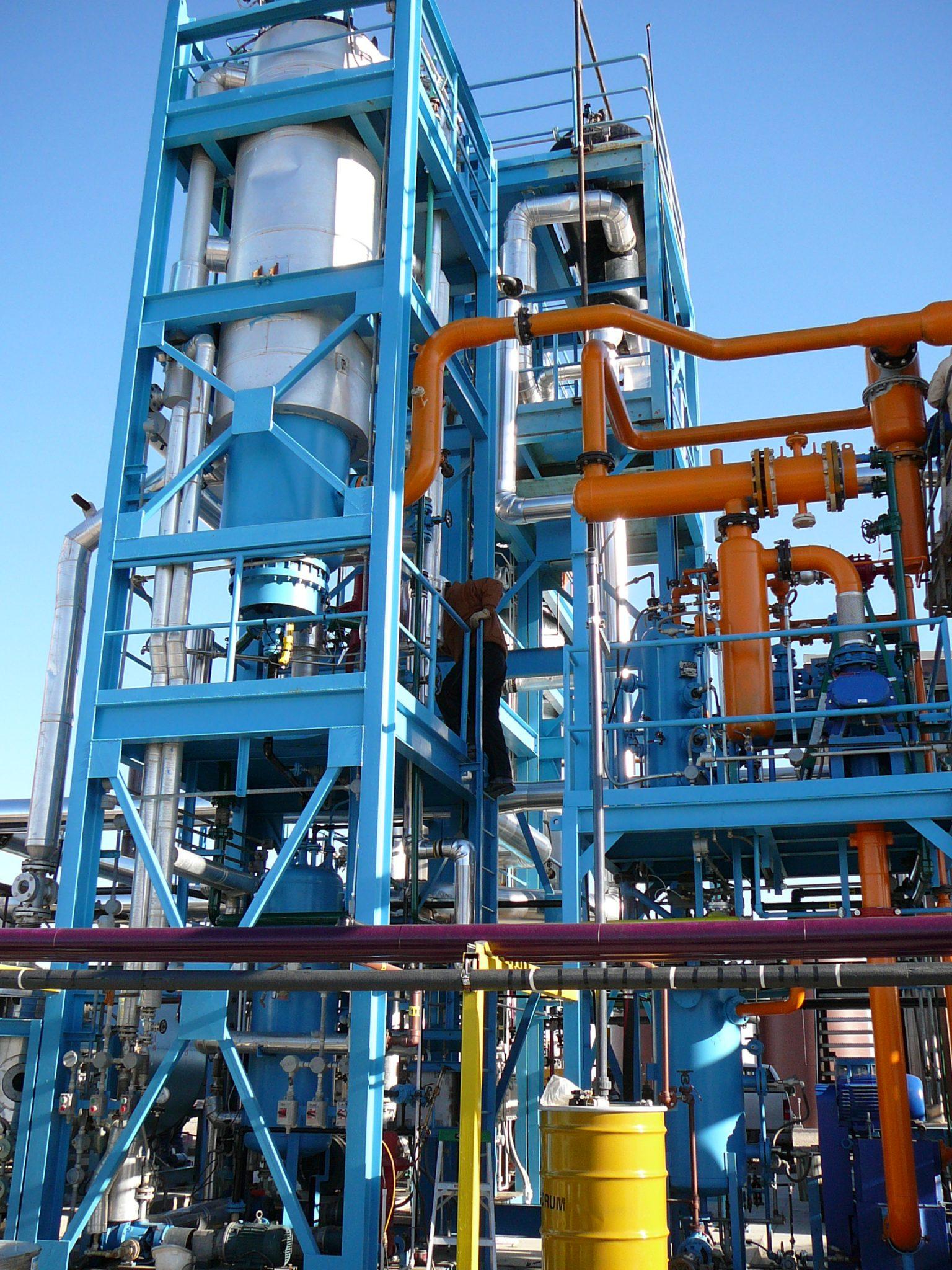 Oil recycling evaporator skids 1