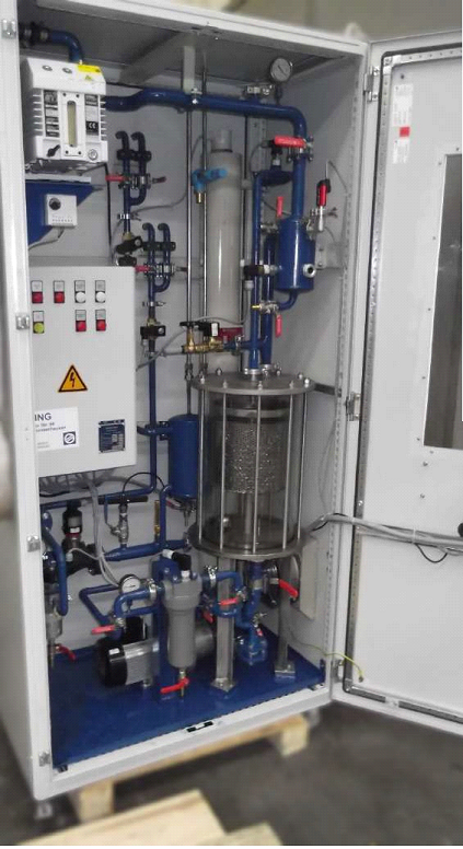 Online transformer degasification system glass vacuum chamber